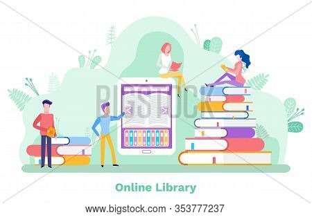 Online Library Vector, Free Access To Publications Flat Style. Man And Woman Students Preparing To E