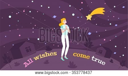Dream Wish Flat Composition With Images Of Sky With Colourful Planets Falling Star Text And Girl Vec