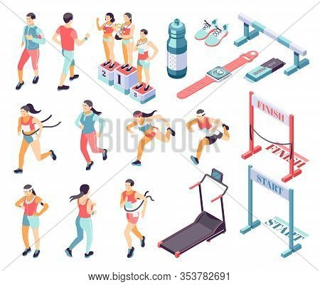 Jogging Running Fitness Isometric Icons Set With Start Finish Race Winners Podium Treadmill Hurdle R