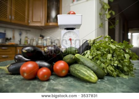 Kitchen Scale And Vegetables