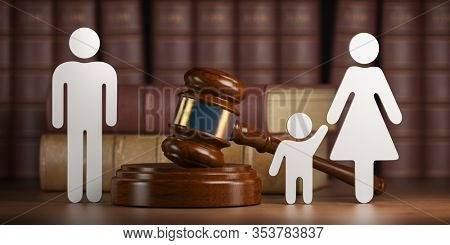 Divorce and custody child concept. Gavel and family silhouette on book background. 3d illustration
