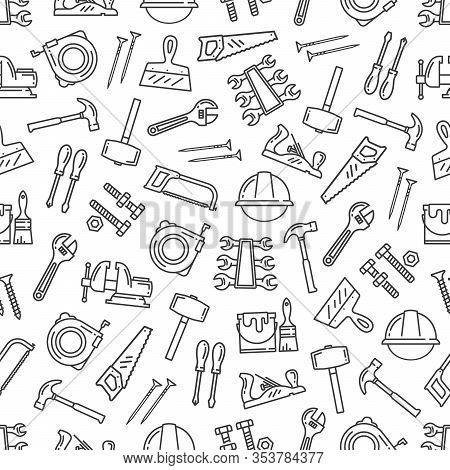 Tool Pattern, Construction Hardware And Repair Instruments. Vector Seamless Background Of Renovation