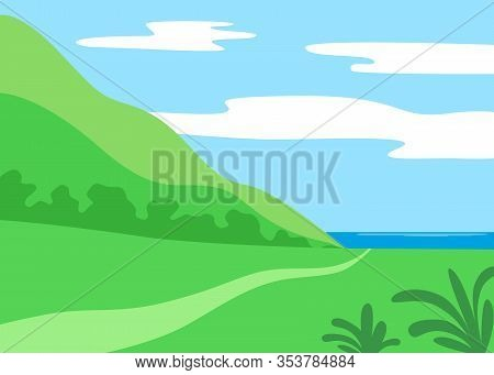 Landscape Summer Day. Green Hill And Footpath Going To Sea. Nature, Travel. Vector Illustration