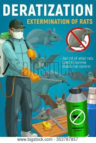Rodent Control, Deratization And Extermination Of Rats, Mice And Bats Vector Design. Pest Control Wo