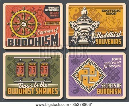 Buddhism Religion, Meditation And Buddha Worship Vintage Retro Posters. Vector Buddhism Religious Sc