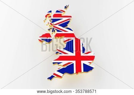 3d Map Of Great Britain. Map Of Great Britain Land Border With Flag. Great Britain Map On White Back