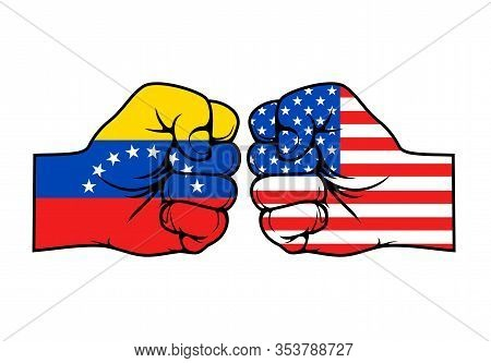 Usa And Venezuela Countries Conflict Vector Design Of Fists With Flags Of United States Of America A