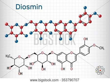 Diosmin, C28h32o15, Flavonoid Molecule. It Is Flavone Glycoside Of Diosmetin, Semisynthetic Drug For