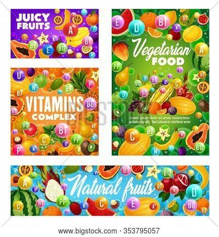 Tropical And Farm Garden Fruits, Organic Healthy Vitamins Food. Vector Multivitamin Complex In Exoti
