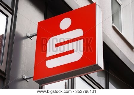 Hannover, Germany - March 1, 2020: Close-up Sign With Sparkasse - German Savings Bank - Logo On Loca