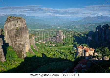 Monastery of Rousanou and Monastery of St. Nicholas Anapavsa in famous greek tourist destination Meteora in Greece in the morning