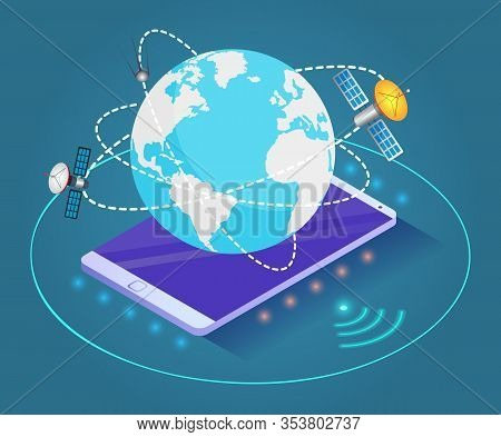 Mobile Phone As Platform For Planet With Lines And Satellites. Orbits Around Globe With Spaceships.