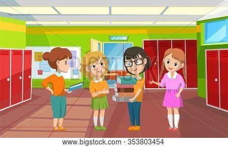 Girls Discussing Subjects In Corridor Vector, Interior Of Hallway With Lockers. Children With Books