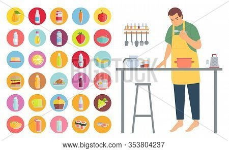 Cooking Man Vector, Male In Kitchen Leisure Time Hobby Of Character. Bottle Of Water, Fish And Banan