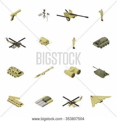 Isometric Army Vector Illustration, Military Weapon For War, Guns Design Isolated Set. Armed Camoufl