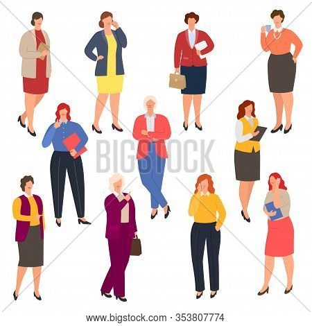 Business Woman Plus Size Vector Illustrations. Curvy Smiling Overweight Businesswoman Wearing Formal