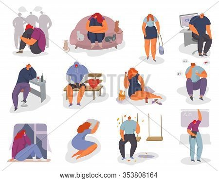People Feel Lonely Vector Illustration Set. Cartoon Young Woman Man Character Sitting Alone, Feeling