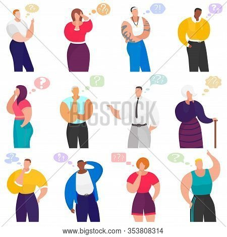Thinking People Set Vector Illustration Set. Cartoon Person In Thoughtful Pose, Male Female Characte