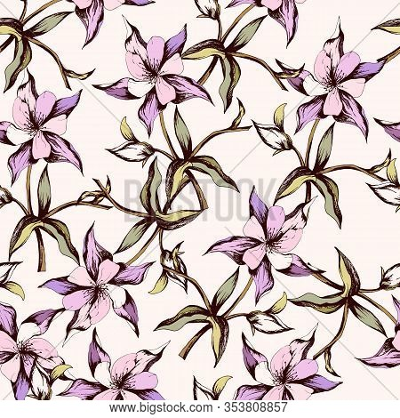 Spring Pink Floral Pattern, Delicate Vector Texture For Fabric, Bedding And Paper. Girlish Backgroun