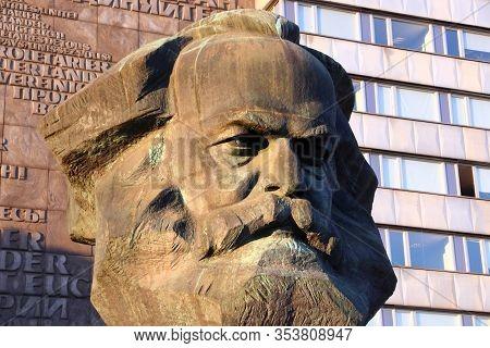 Chemnitz, Germany - May 8, 2018: Karl Marx Monument In Public Space Of Chemnitz City, Germany. The M