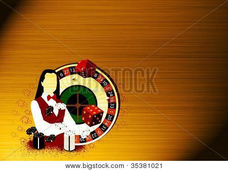 Roulette Wheel An Dealer Girl