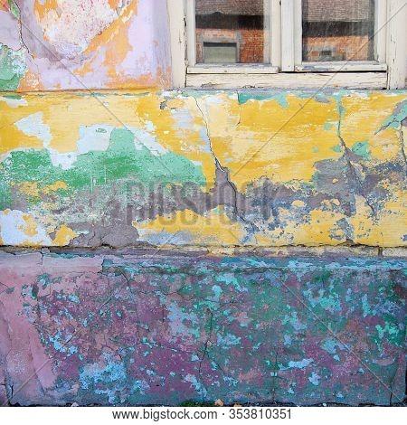 Multicolour Wall Of The Old House In Novi Kozjak, Banat, Serbia