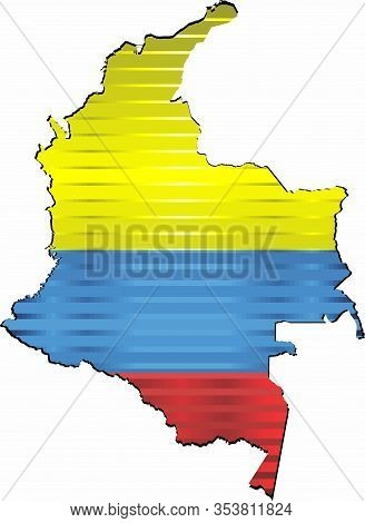 Shiny Grunge Map Of The Colombia - Illustration,  Three Dimensional Map Of Colombia