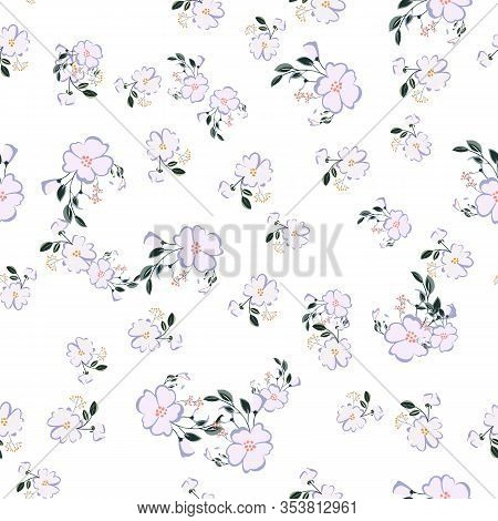 Seamless Pattern With Colorful Hand Drawn Flowers. Original Textile, Wrapping Paper, Wall Art Surfac