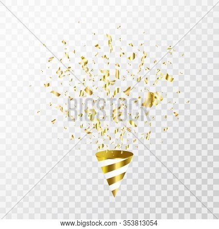 Gold Confetti Flying On Transparent Background. Party Cracker With Golden Confetti, Serpentine. Brig