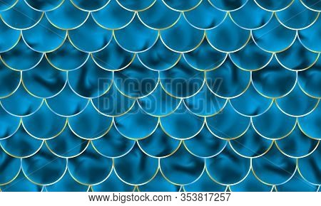Mermaid Scales. Fish Squama. Blue Pattern. Color Vector Illustration. Watercolor Background. Scale P