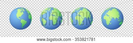 Earth Icons Set. Globe Icon. Flat Design Vector Illustration For Web Banner, Web And Mobile, Infogra
