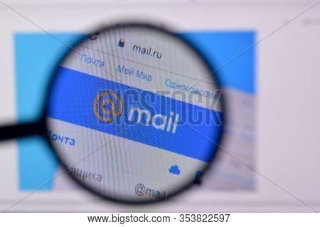 Homepage Of Mail Ru Website On The Display Of Pc, Url - Mail.ru.