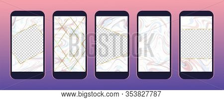 Set Of Fancy Stories Templates For Social Media. Pink Marble Texture As Stories Frames And Backgroun