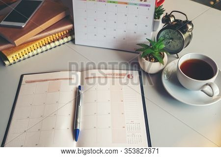 Diary Calendar And Agenda For Planner To Plan Timetable,appointment,organization,management On Table