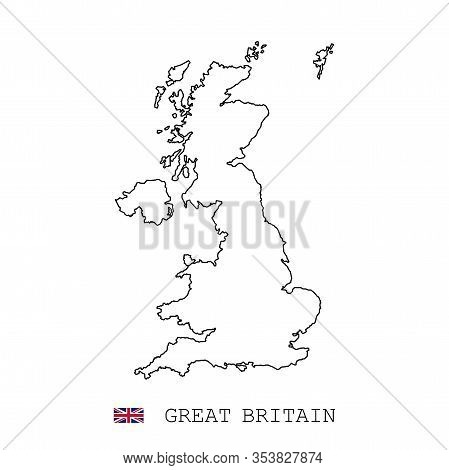 United Kingdom Great Britain Map Line, Linear Thin Vector. United Kingdom Great Britain Simple Map A