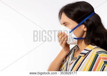 Woman Wearing Face Mask For Protect Pm2.5 Anti Pollution, Anti Smog, Viruses Or Coronavirus, Novid 1