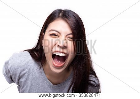 Laughing Asian Woman. Beautiful Young Asian Girl Laugh Someone With Mockery Or Sneer. Young Lady Is