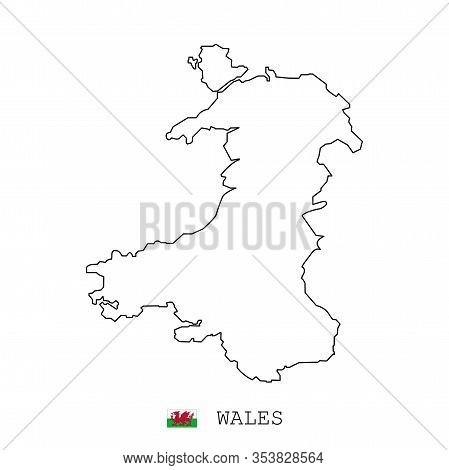 Wales Map Line, Linear Thin Vector. Wales Simple Map And Flag.