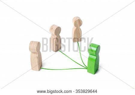 Green Leader Connected With People By Lines. Optimization And High Work Efficiency. Distribution Of