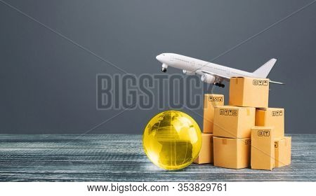Boxes With Globe And Freight Plane. International Delivery Of Goods And Products. Logistics, Infrast