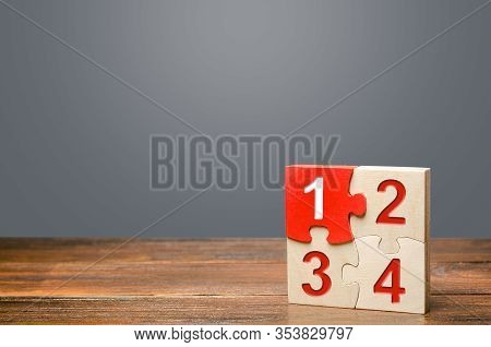Set Of Four Puzzles With Numbers. Contract Road Map. Organization And Systematization, Step By Step