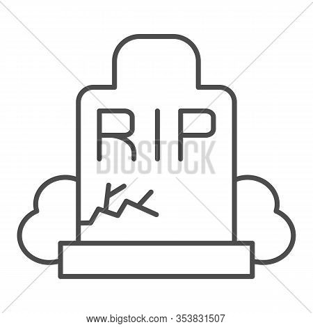 Gravestone Thin Line Icon. Grave, Funeral Gravestone With Rip Sign And Crack. Halloween Party Vector