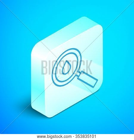 Isometric Line Oil Drop Icon Isolated On Blue Background. Geological Exploration, Geology Research.