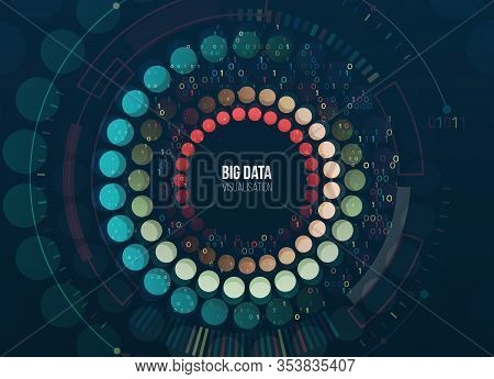 Big Data Visualization. Abstract Background With Circles Array And Hi-tech Elements. Connection Stru