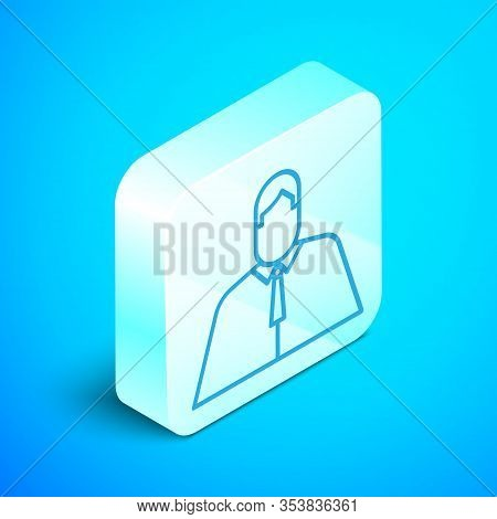 Isometric Line Lawyer, Attorney, Jurist Icon Isolated On Blue Background. Jurisprudence, Law Or Cour