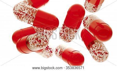 Falling Pill Capsules, Medical Illustration. 3d Rendering Pills On White. Pharmacy Opened Capsule Ic