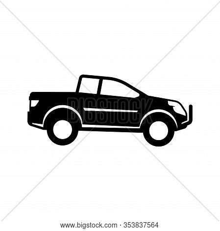 Pickup Truck Vector Illustration. Silhouette Of Pickup Isolated On White Background. Pickup Car Icon