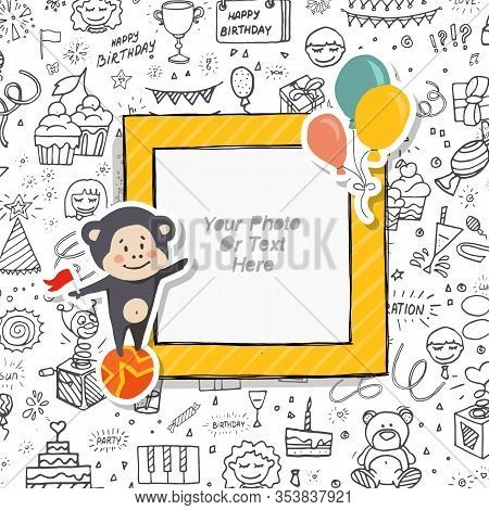 Cartoon Art Styles. Decorative Party Vector Template Frame. This Photo Frame You Can Use For Kid Pic