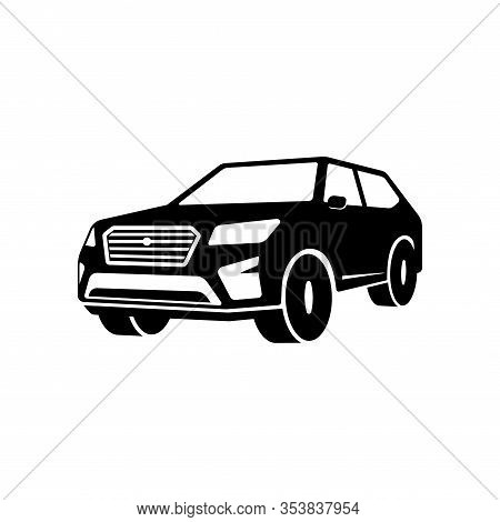Suv Car Silhouette Vector Icon. Car Sign Symbol Design