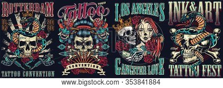 Vintage Tattoo Festivals Posters Set With Skulls Devil Masks Snakes Tattoo Machines Dagger Roses Cro